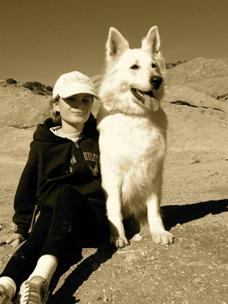 Alaska white german shepherd hiking